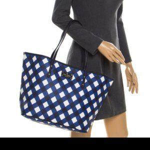 Kate Spade Blue/White Harmony Gingham Shopper Tote